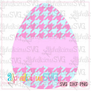 Egg with Scallop Banner-Houndstooth-SVG