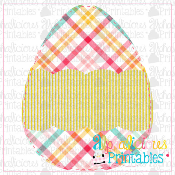 Egg with Scallop Banner-Plaid and Seersucker -Printable