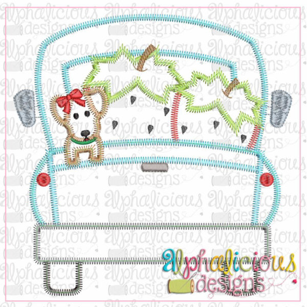Farm Truck with Strawberries and Pup with Bow-Zig Zag