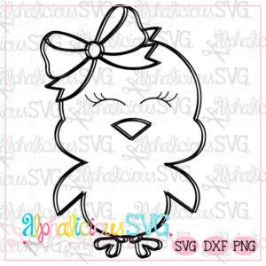 Little Chick with Bow-Black Line -SVG