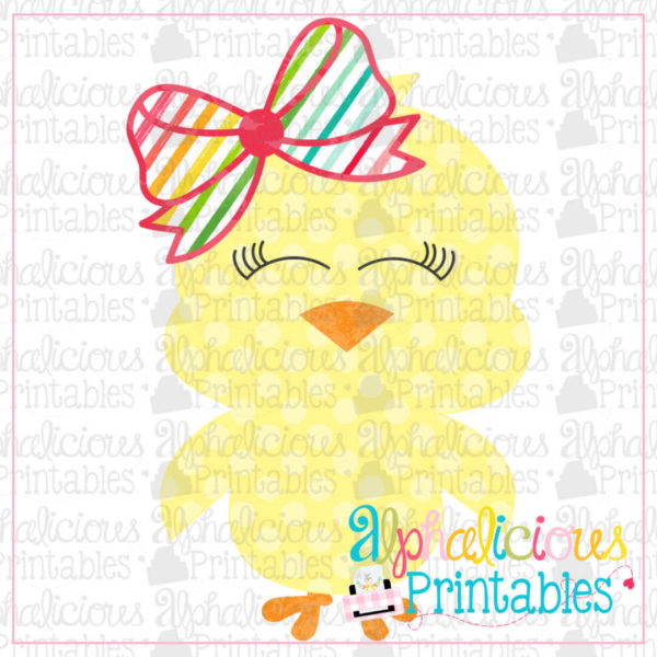 Little Chick With Bow- Polka And Stripes-Printable