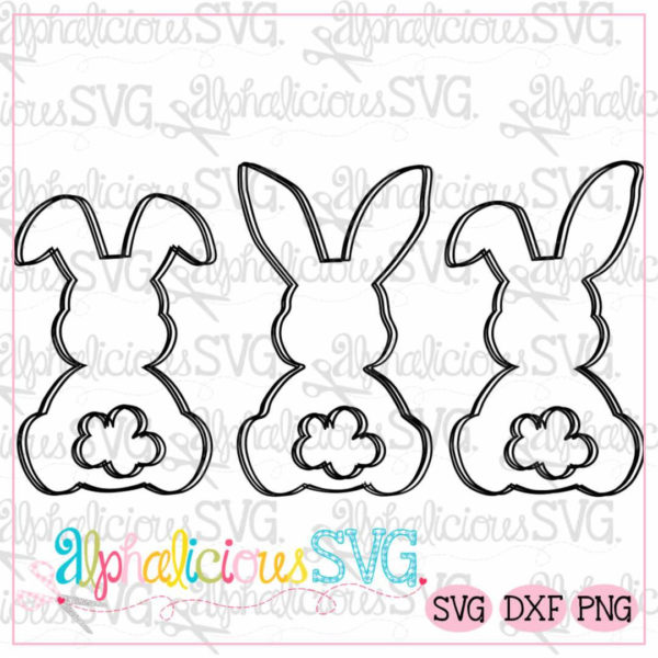 Simple Bunnies Three In A Row-Black Line-Svg