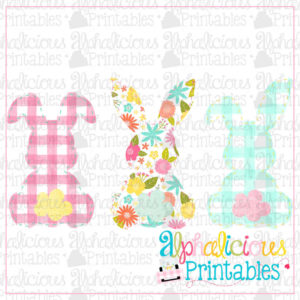 Simple Bunnies Three In A Row-Floral and Plaid-Printable