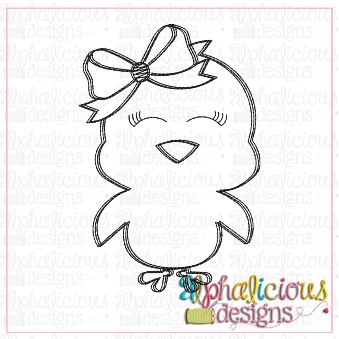 Black line Chick with Bow-Scribble