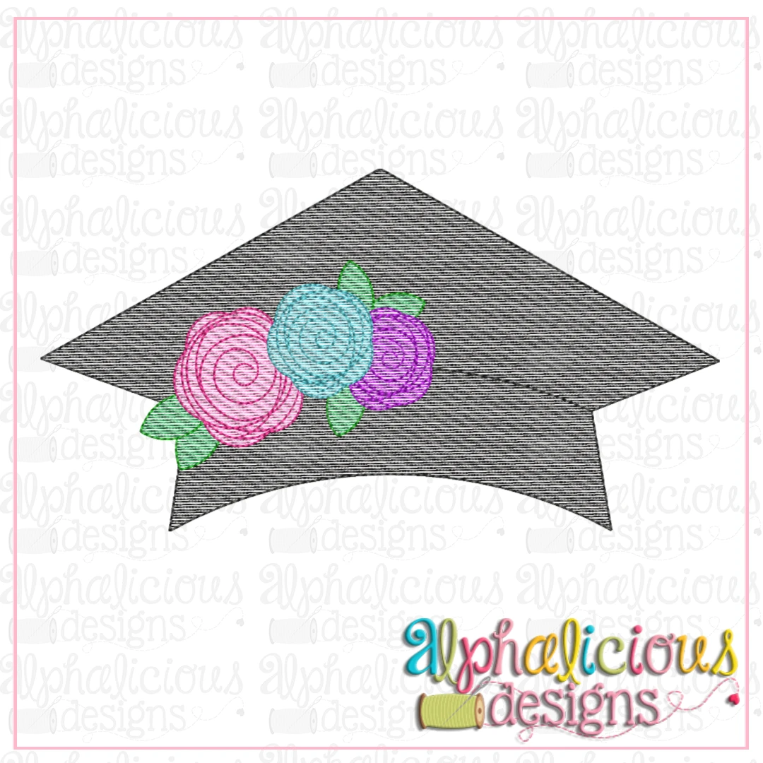 Graduation Hat with Flowers-Sketch