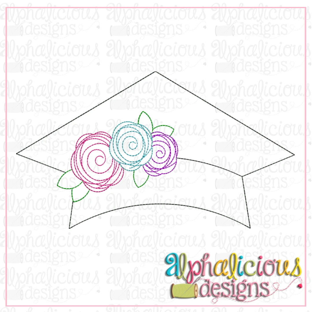 Graduation Hat with Flowers-Triple Bean