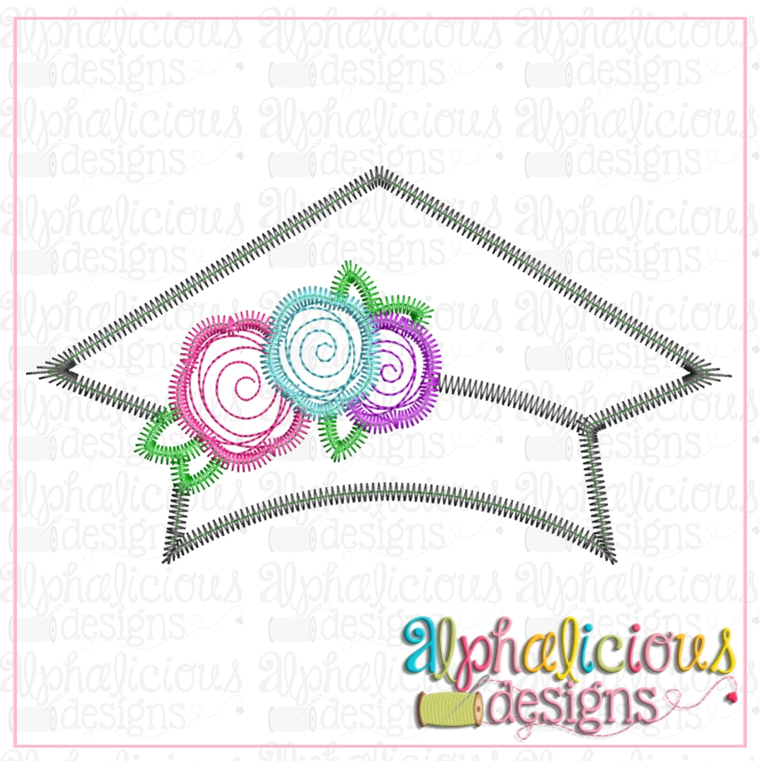 Graduation Hat with Flowers-Zig Zag