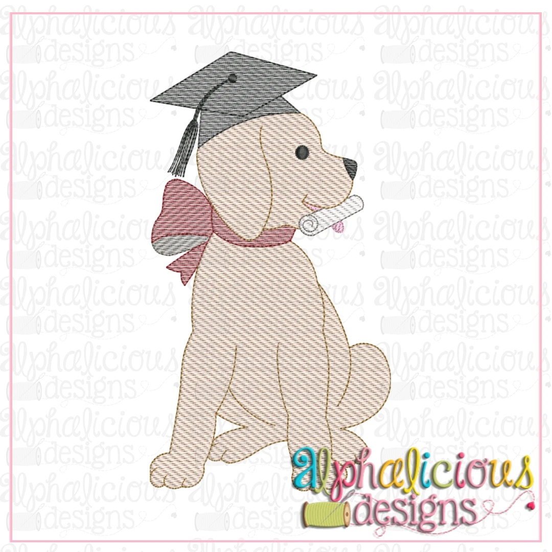 Graduation Pup with Bow-Sketch