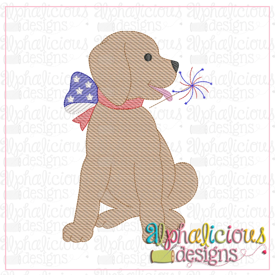 Pup With Sparkler-Sketch