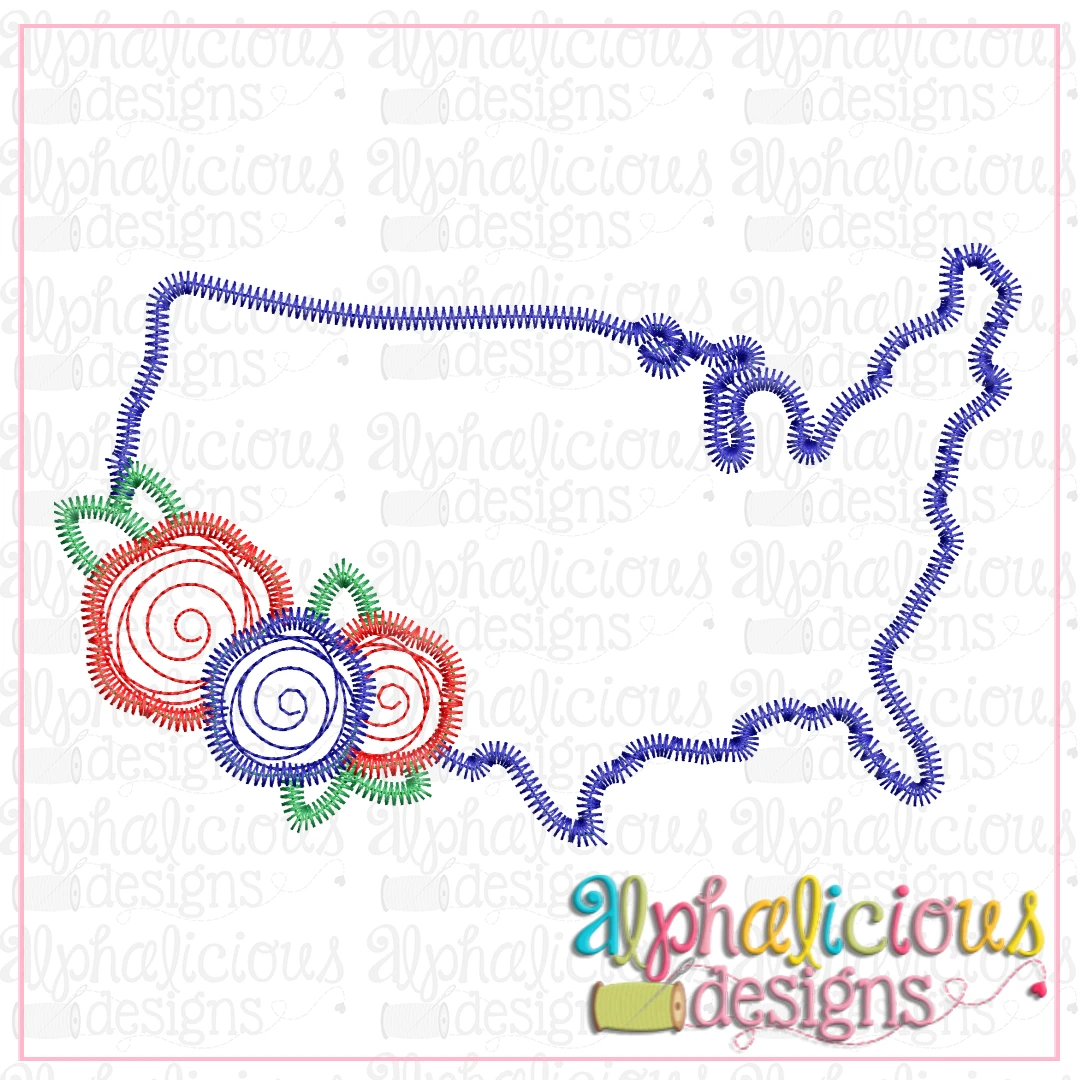 Floral USA-Scribble