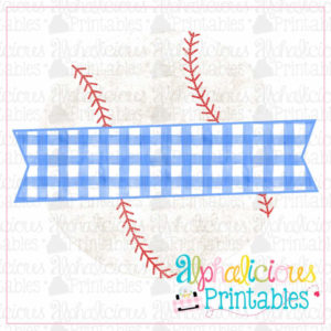 Ball and Banner-Blue Gingham-Printable