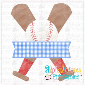 Baseball, Bat, and Banner- Blue and Red-Printable