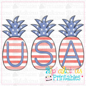 Watercolor USA Pineapples-Printable