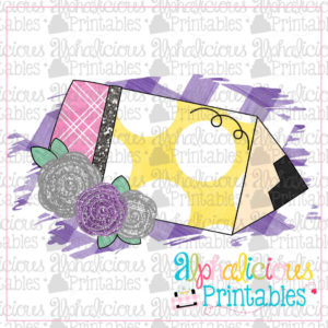 Floral Pencil Sliver and Purple-Printable