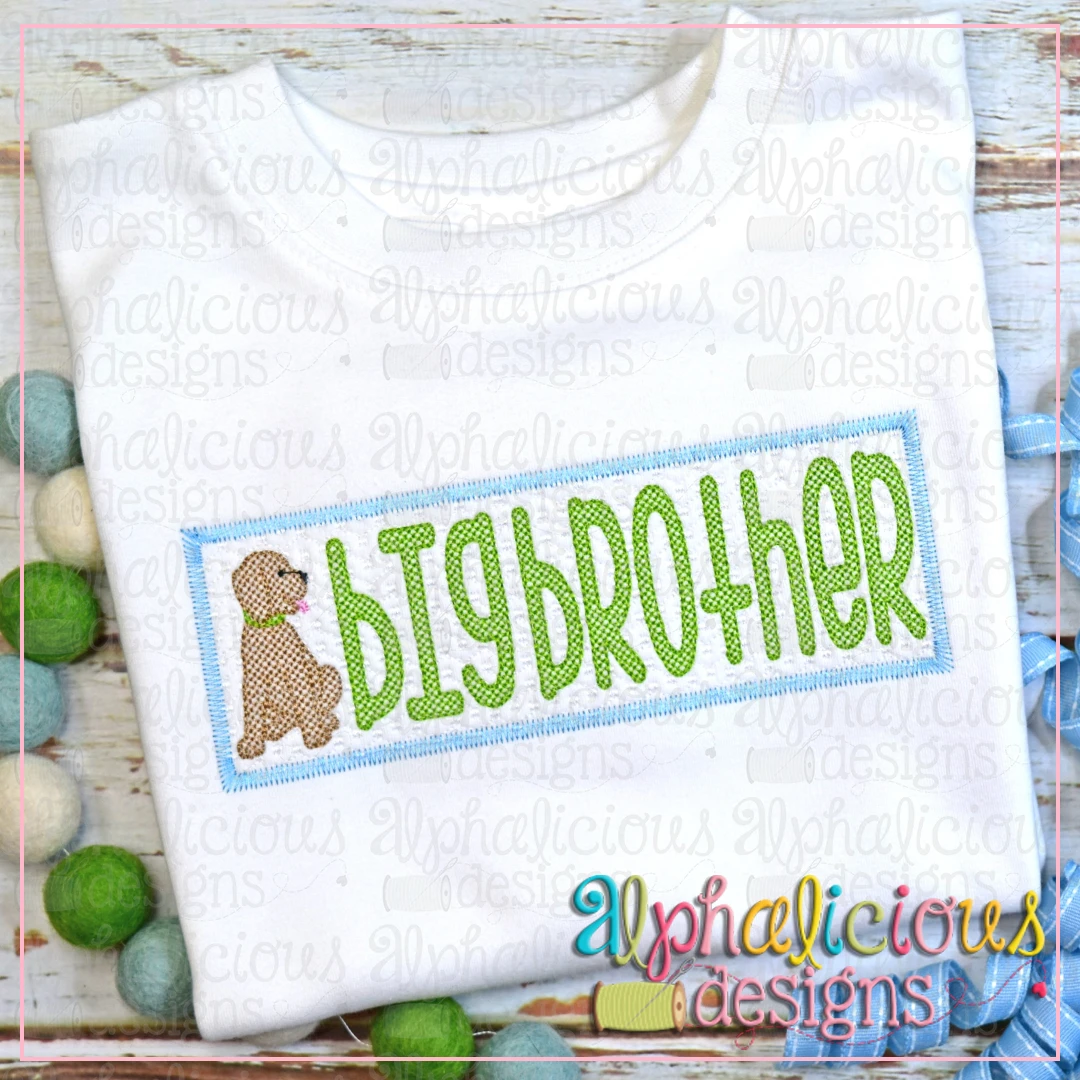Big Brother with Pup Faux Smock