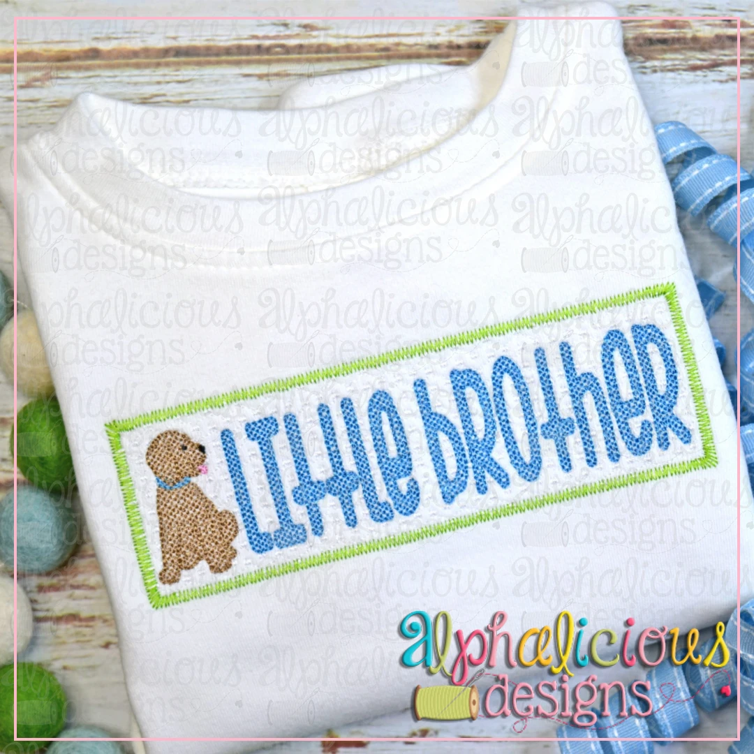 Little Brother with Pup Faux Smock