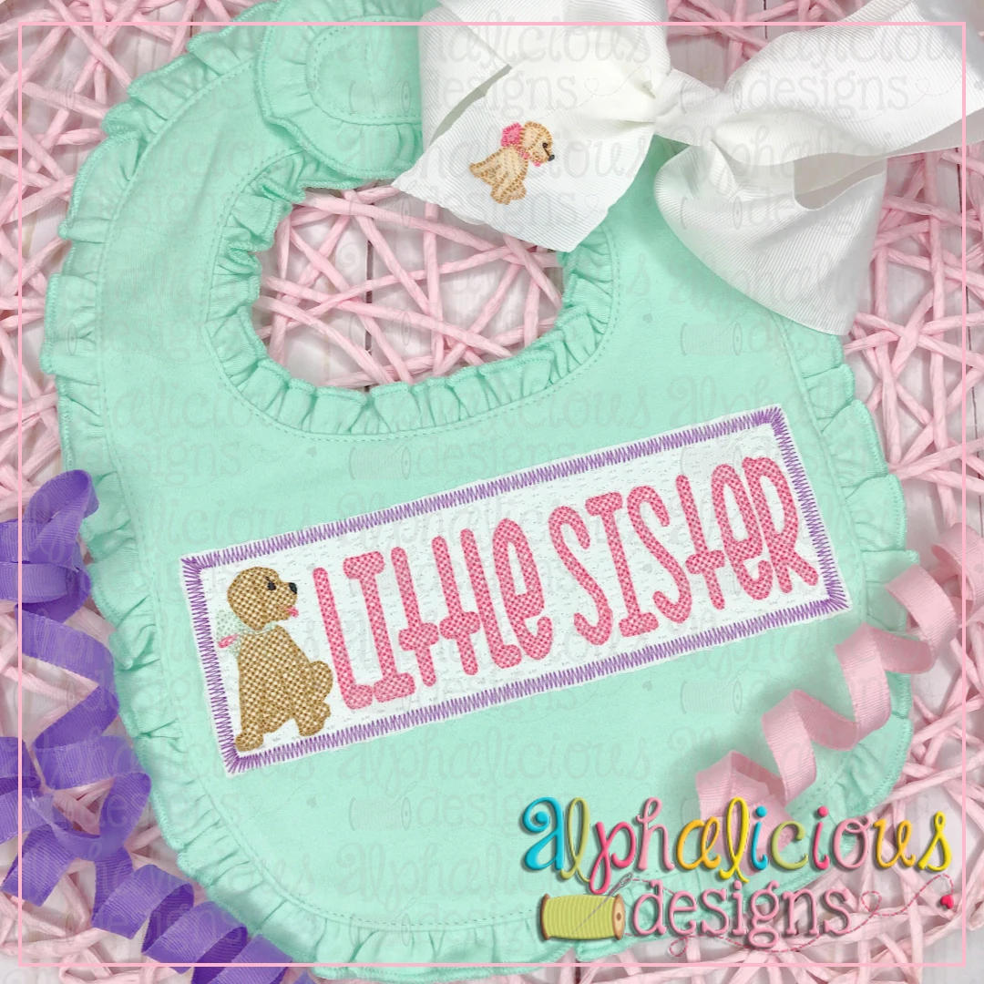 Little Sister with Pup Faux Smock