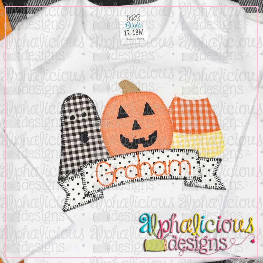 Spooky Trio With Banner-Blanket
