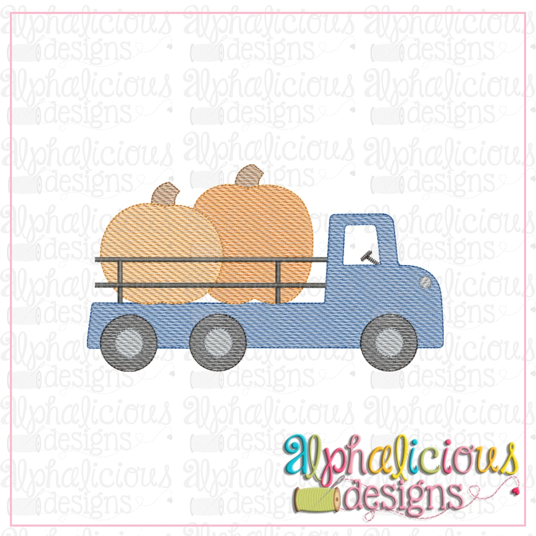Flatbed Pumpkin Truck with Rails-Sketch