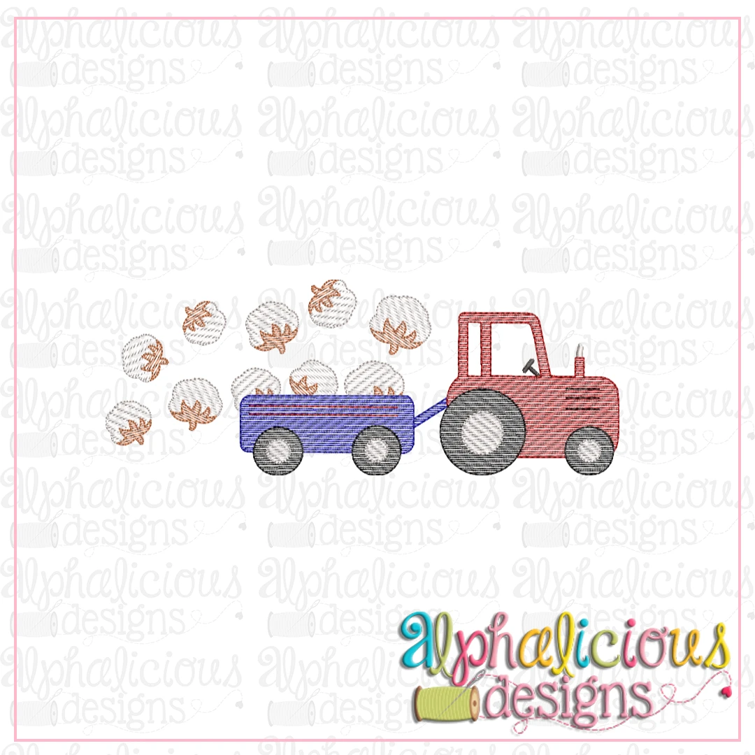 Farm Tractor with Cotton-Sketch