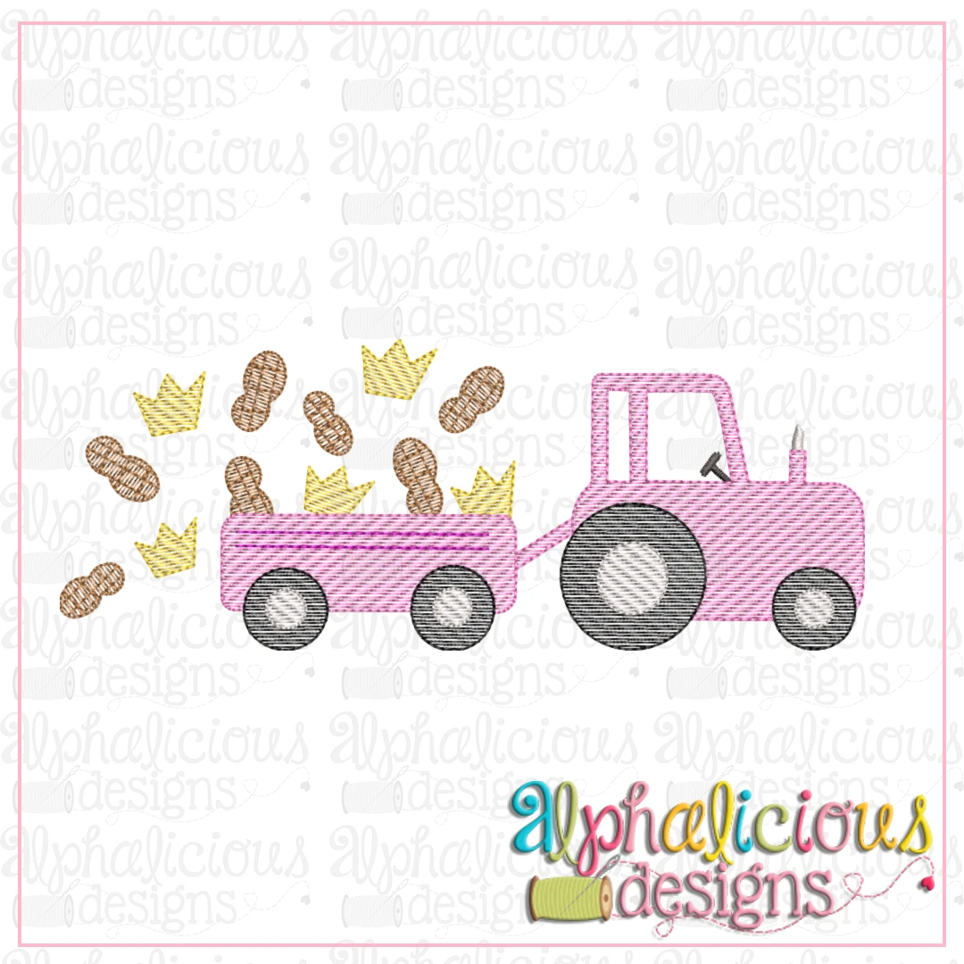 Farm Tractor with Peanuts and Crown-Sketch