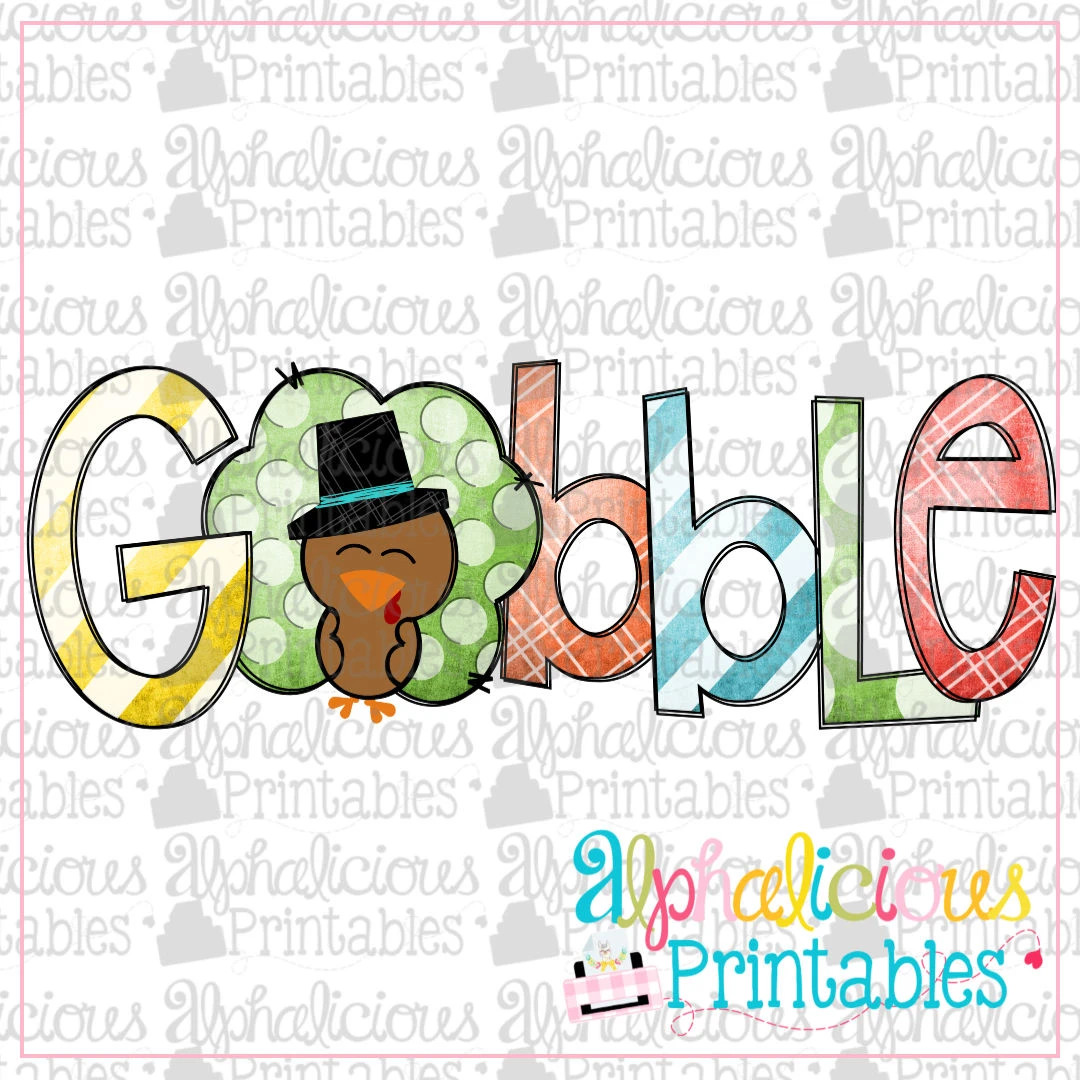 Gobble- Grunge with Hat -Printable