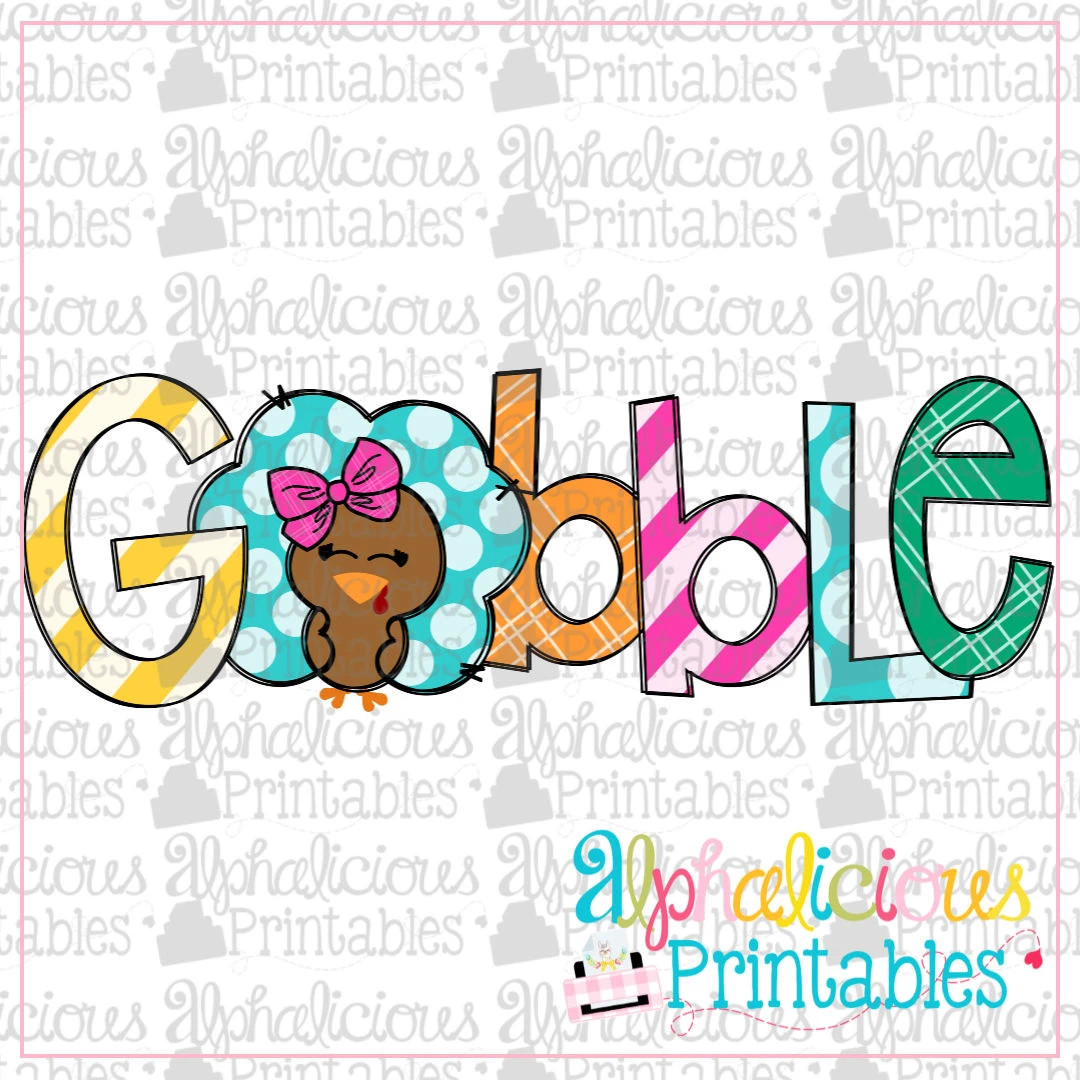 Gobble Girl with Bow -Printable