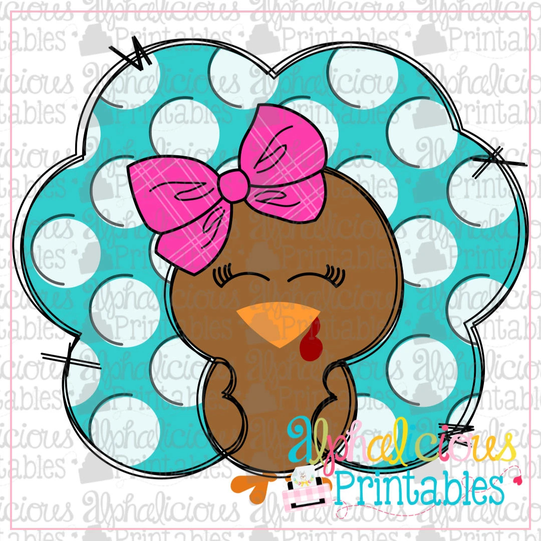 Polka Dot Turkey with Bow -Printable