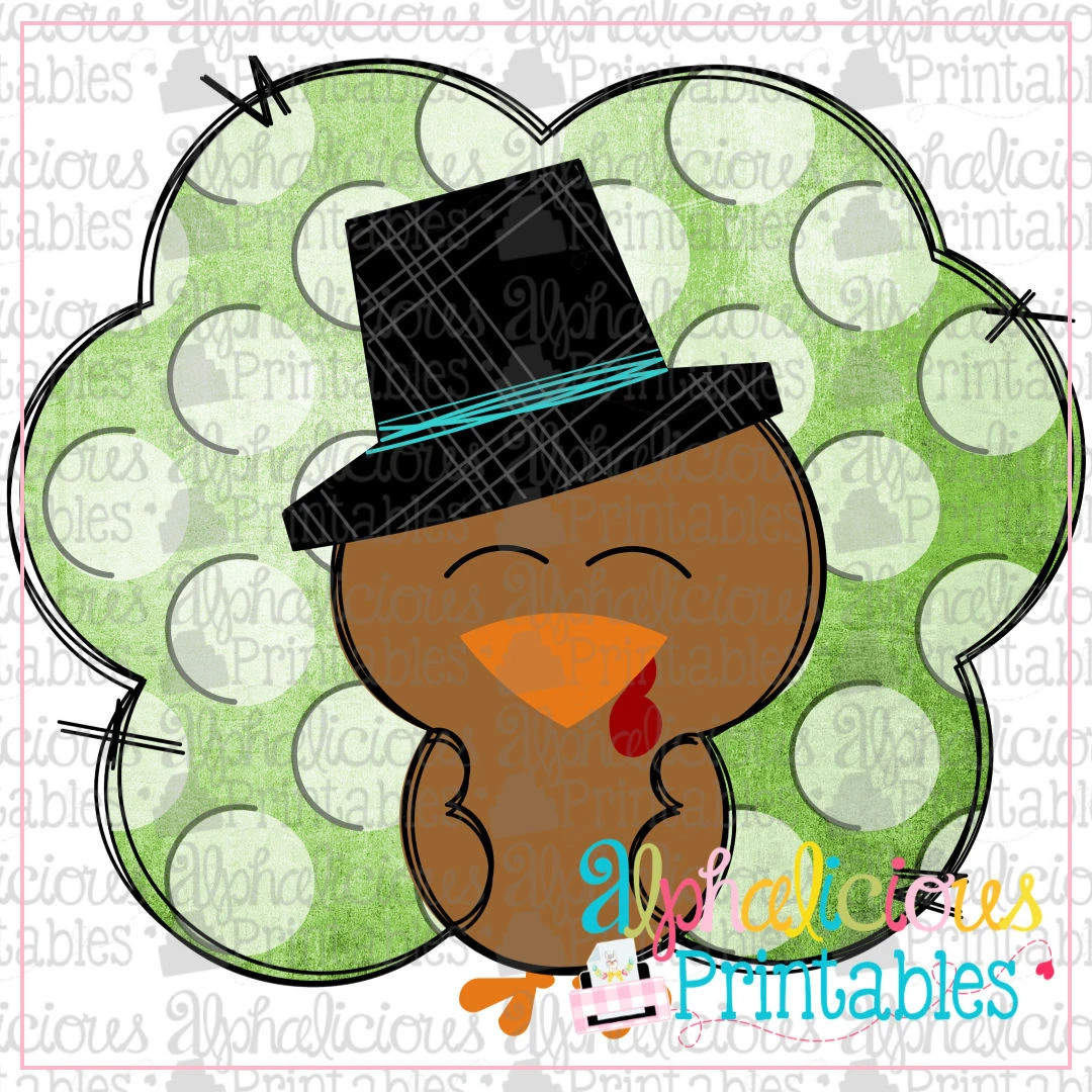 Turkey with Hat- Polka Dot  -Printable