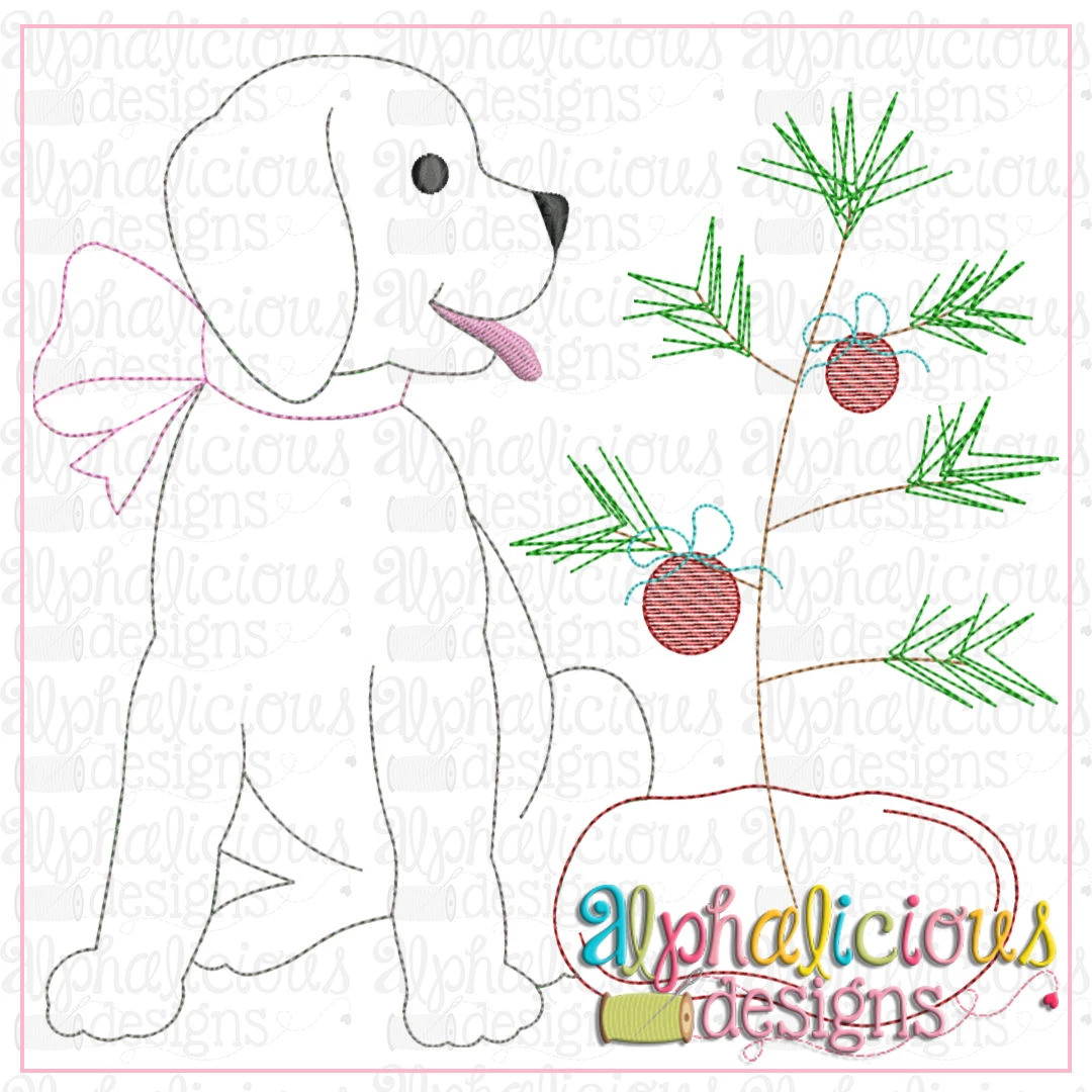 Pup with Bow and Tree-Triple Bean