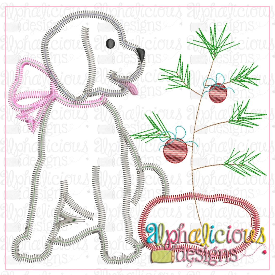 Pup with Bow and Tree-ZigZag