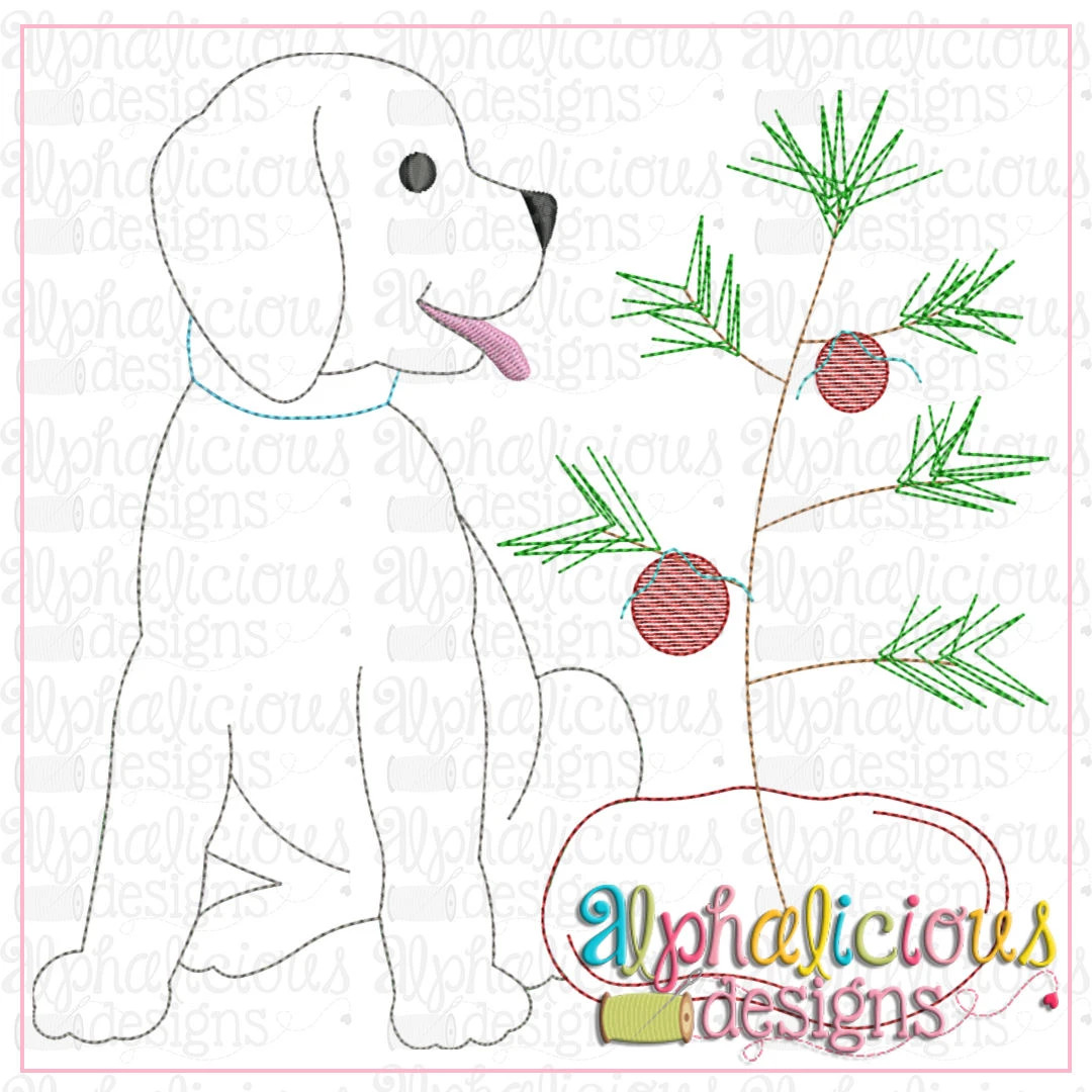 Pup with Tree-Triple Bean