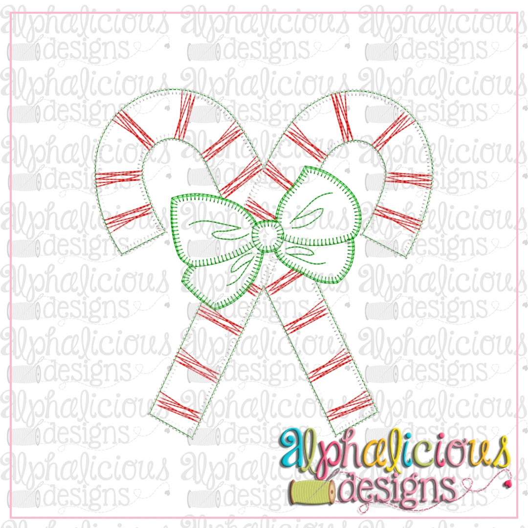 Candy Canes with Bows-Blanket