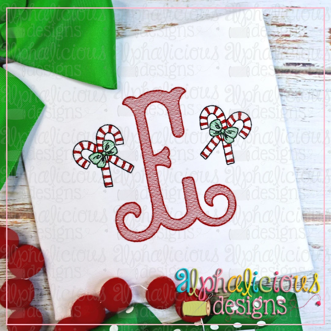Candy Cane with Bow MINI-Sketch