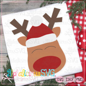 Red Nosed Reindeer with Hat- SVG
