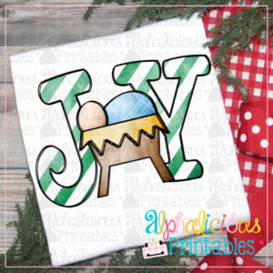 JOY Nativity with Stripes-Printable