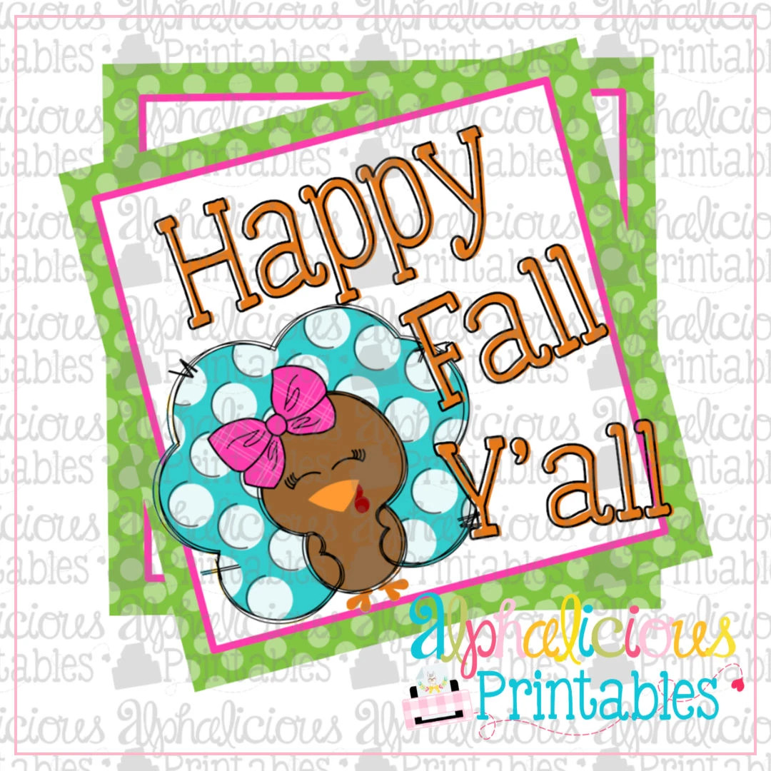 Happy Fall Y'all- Girl Printable Tags