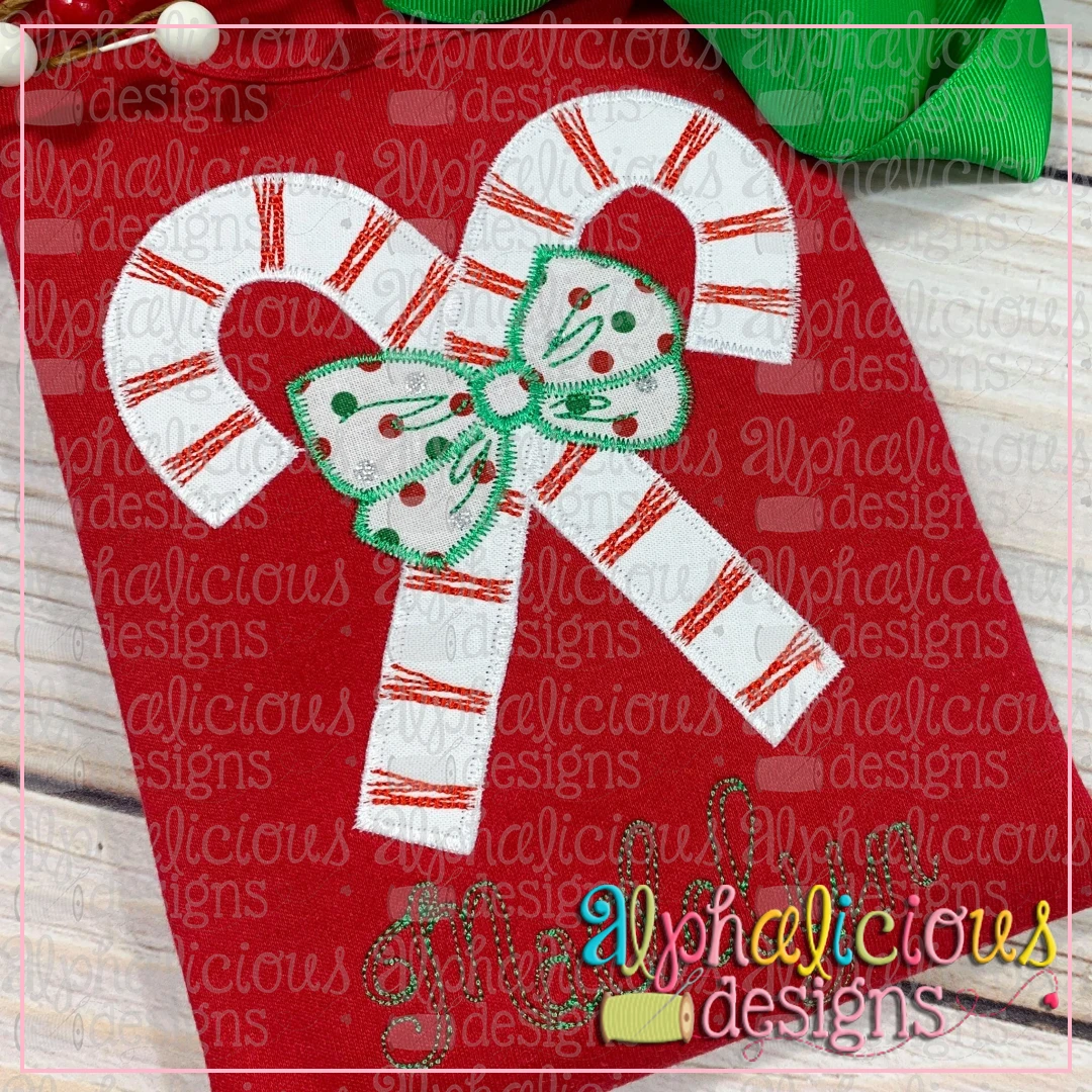 Candy Canes with Bows-Zig Zag