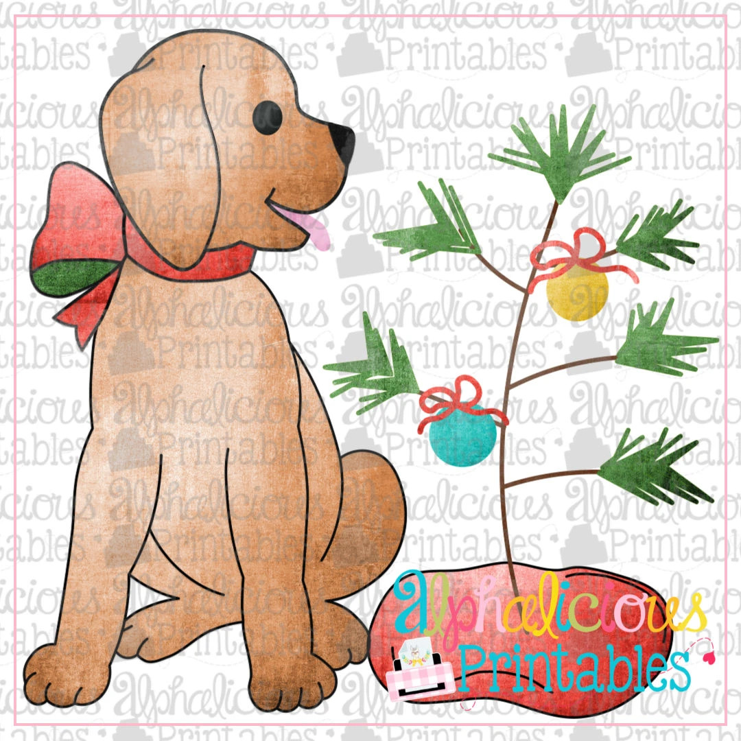 Pup with Bow and Christmas Tree- Red and Green- Printable