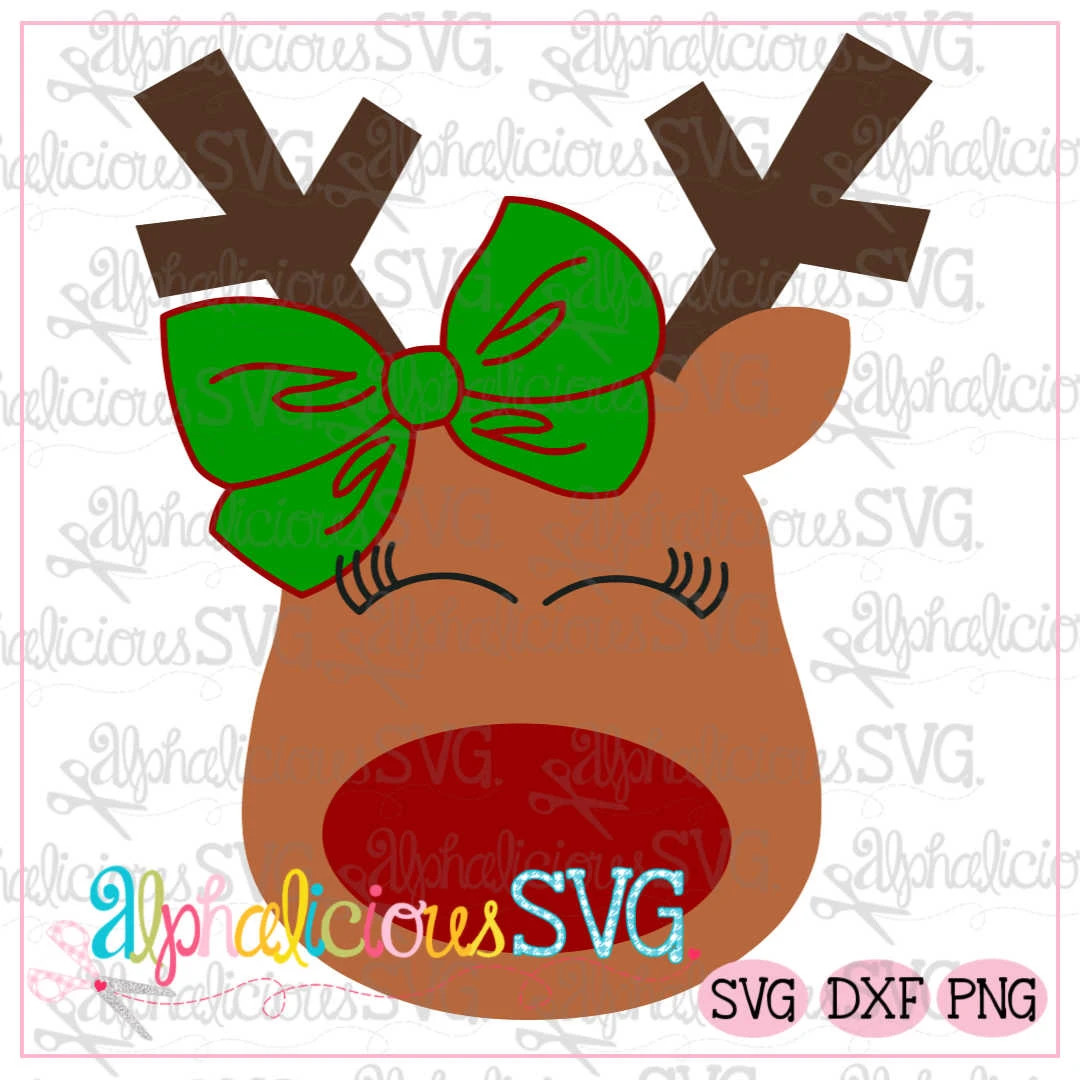 Red Nosed Reindeer with Bow- SVG