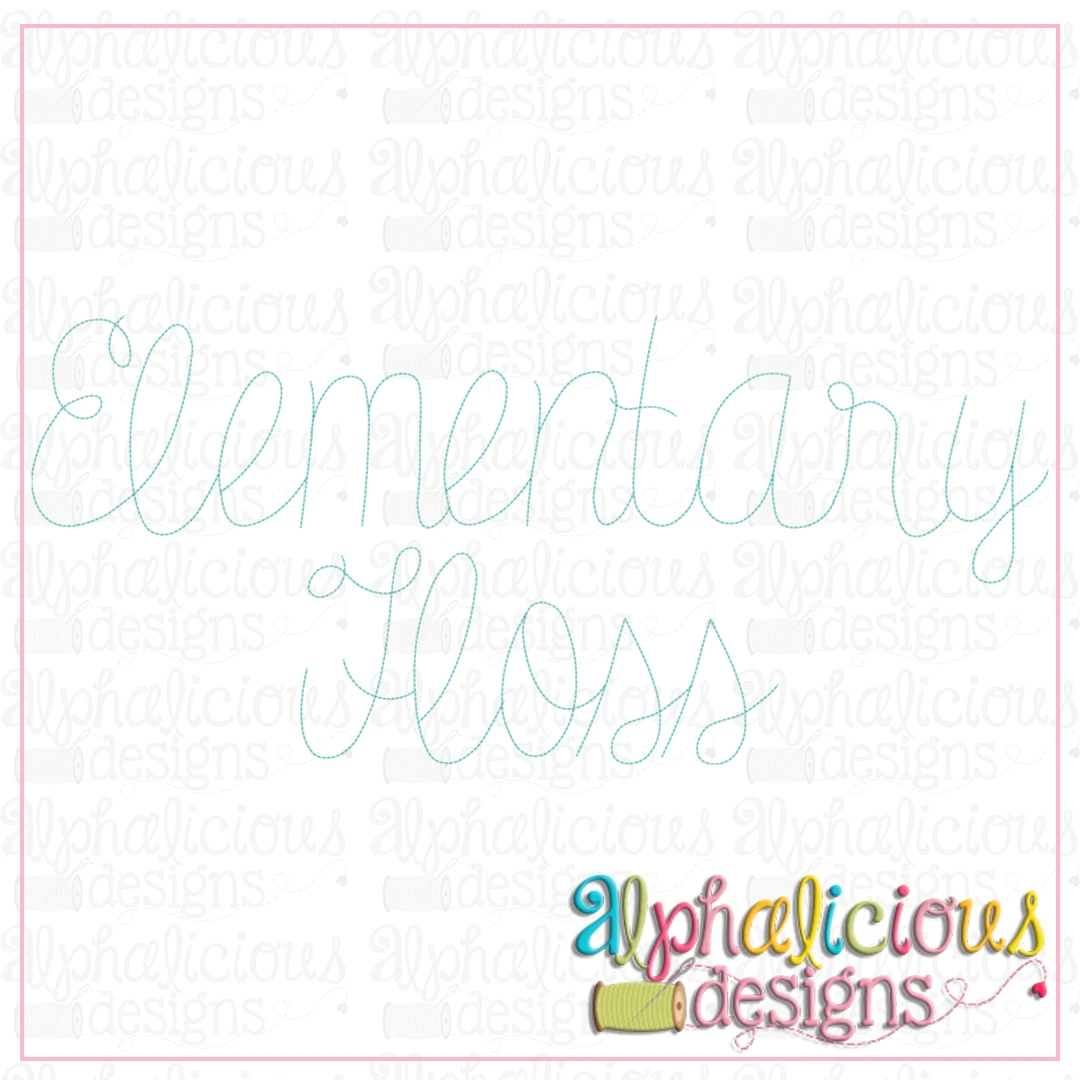 Elementary Script Floss Embroidery Font
