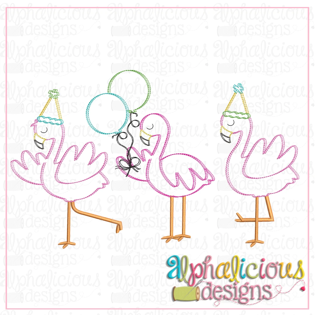 Birthday Flamingos-Scribble