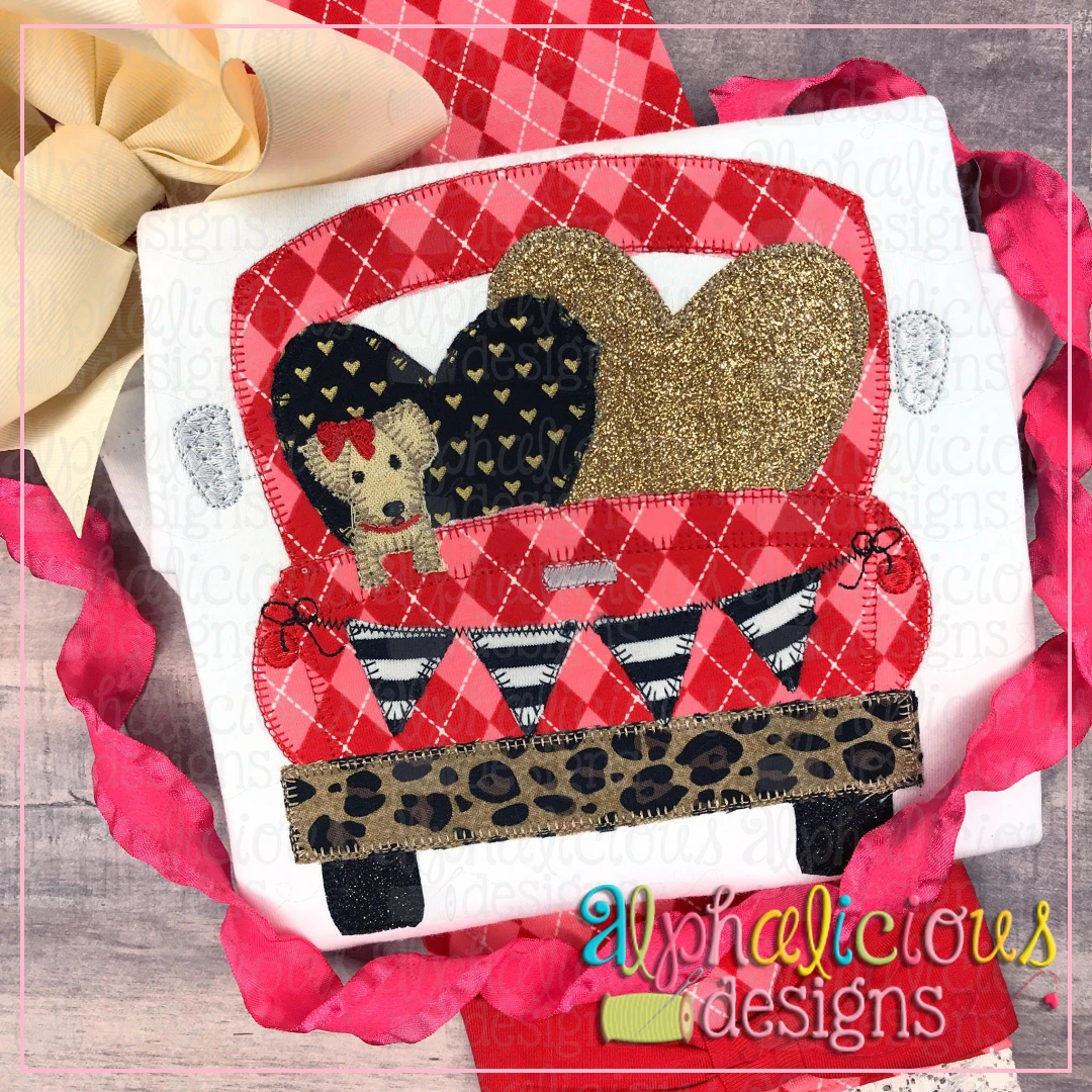 Farm Truck with hearts and Pup with Bow-Blanket