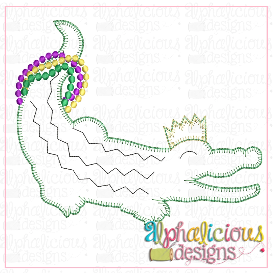 Gator with Crown and Beads-blanket