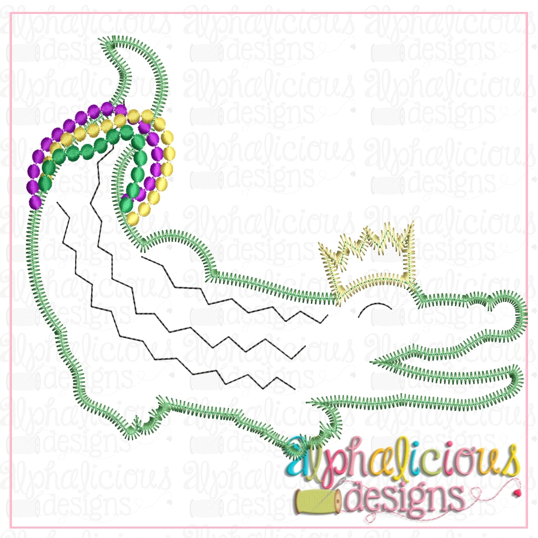 Gator with Crown and Beads-ZigZag