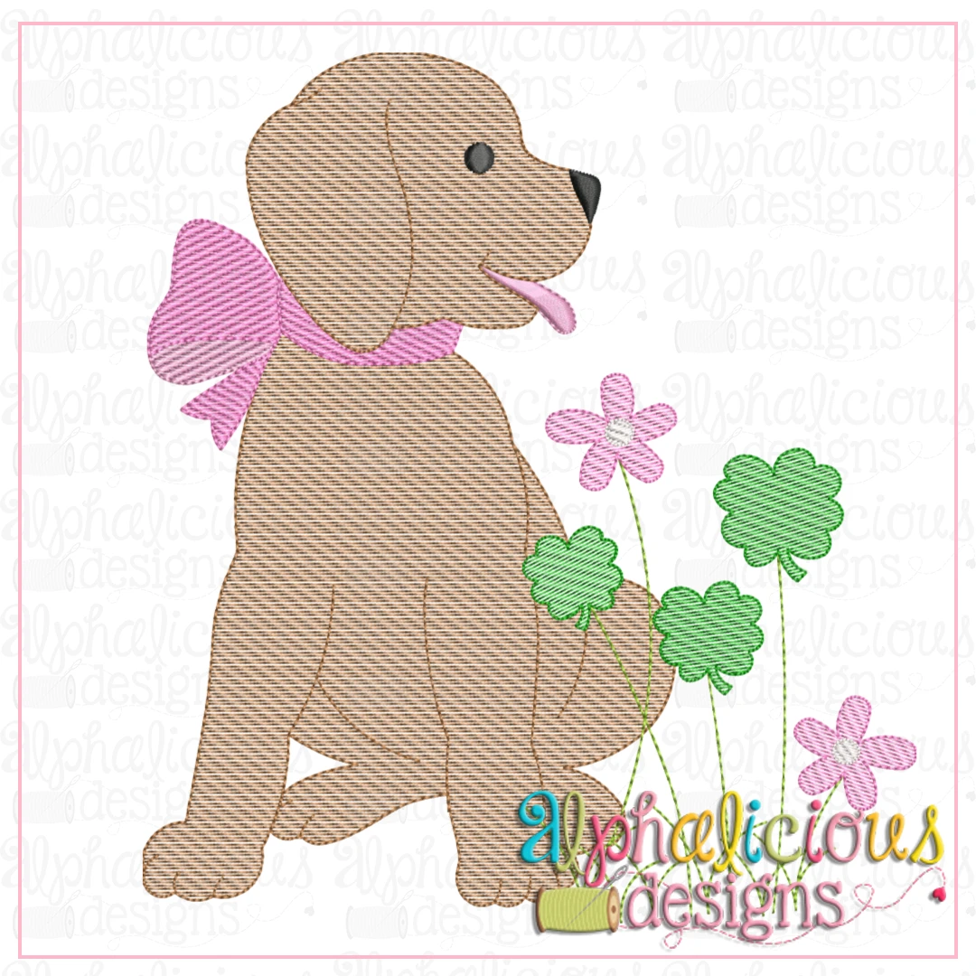 Pup with Bow and Shamrocks-Sketch