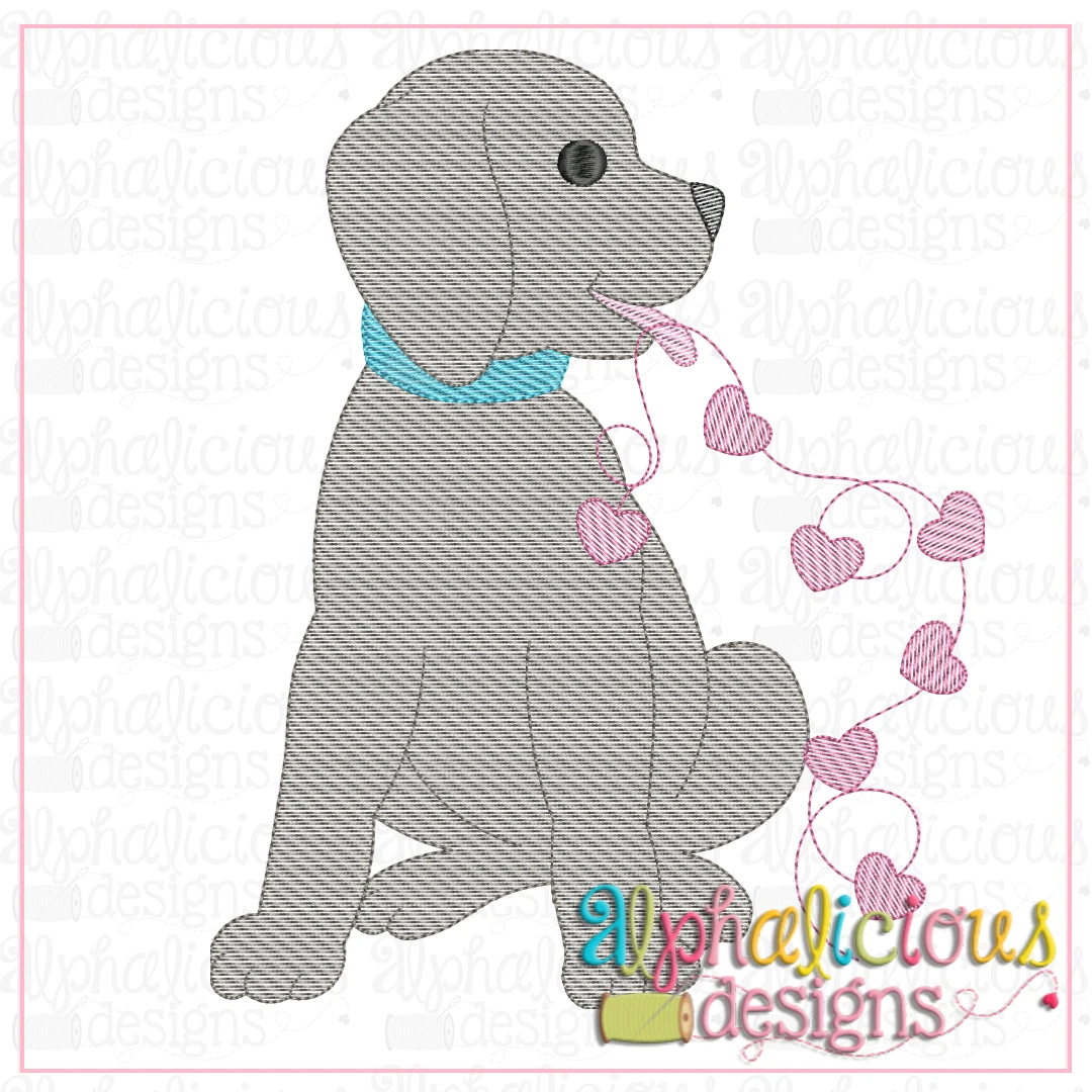 Pup with Hearts-Sketch