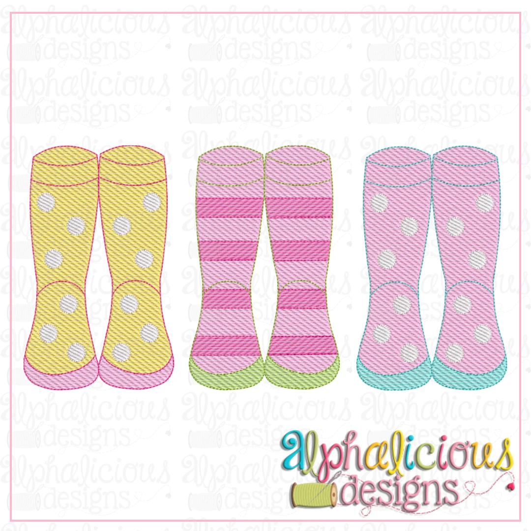 Rainboots with Stripes and Polka Dots-Sketch