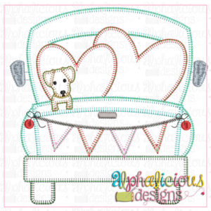 Farm Truck with hearts and Pup-Blanket