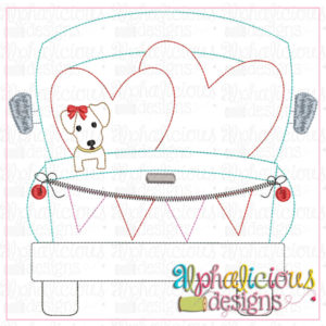 Farm Truck with hearts and Pup with Bow-Triple Bean